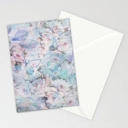 Shabby vintage pastel pink teal floral butterfly typography Stationery Cards