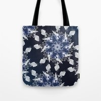 damask Tote Bags featuring Damask blue by /CAM