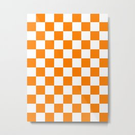 Checkered - White and Orange Metal Print