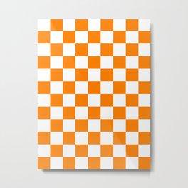 Checkered - White and Orange Metal Print