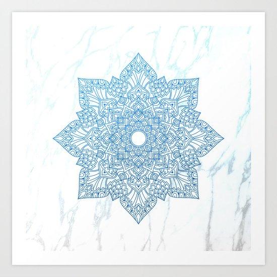 Blue flower mandala - marble Art Print
