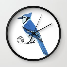 Volleyball Blue Jay Wall Clock