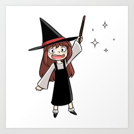 Cute witch girl Art Print