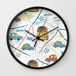 Seamless Pattern with Hand Drawn Cars Wall Clock