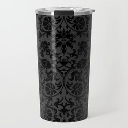 Black Damask Pattern Design Travel Mug
