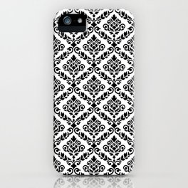 Prima Damask Pattern Black on White iPhone Case