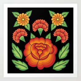 Mexican Folk Pattern – Tehuantepec Huipil flower embroidery Art Print