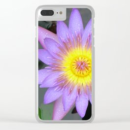 purple water lilly Clear iPhone Case