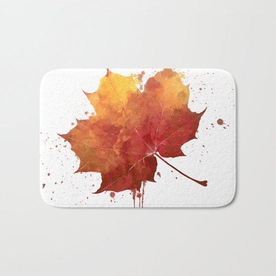 Autumn leaf watercolor painting Bath Mat