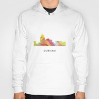 north carolina Hoodies featuring Durham North Carolina Skyline by Marlene Watson