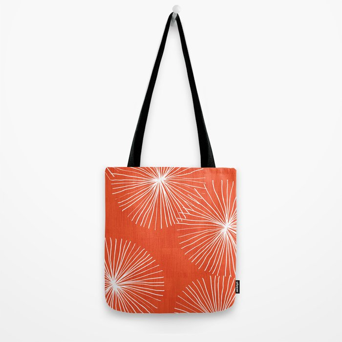 Dandelions in Red by Friztin Tote Bag