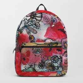 Red poppies and other flowers Backpack