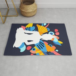 White Budda with Colorful Energy Rug