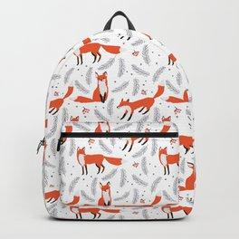 Red foxes and berries in the winter forest Backpack