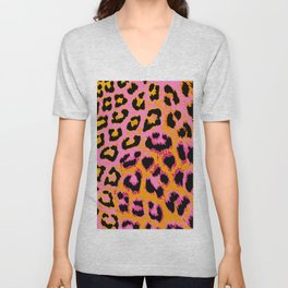 Gold and Pink Leopard Spots Unisex V-Neck