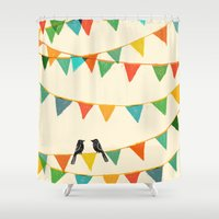 flag Shower Curtains featuring Carnival is coming to town by Picomodi