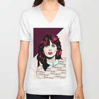 80s V-neck T-shirts featuring 80s Pink by Anna McKay