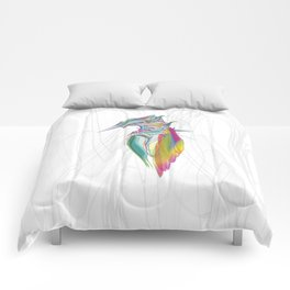 Kingfisher 1g. Full color on white background-(Red eyes series) Comforters