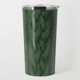 Pine Green Cable Knit Travel Mug