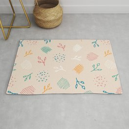 Contemporary Abstract Foliage Pattern #1 - Beige, Coral, Teal, Marigold, Jade & White Rug