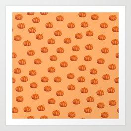 Cute Little Pumpkin Pattern   Autumn/Fall Illustration   Orange   Nature & Seasons Art Print