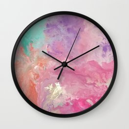 In between loves | Boho | Fluid Art | Pink Wall Clock