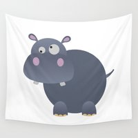 hippo Wall Tapestries featuring Crazy Hippo by lilchillipadi