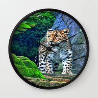 leopard Wall Clocks featuring leopard by Doug McRae