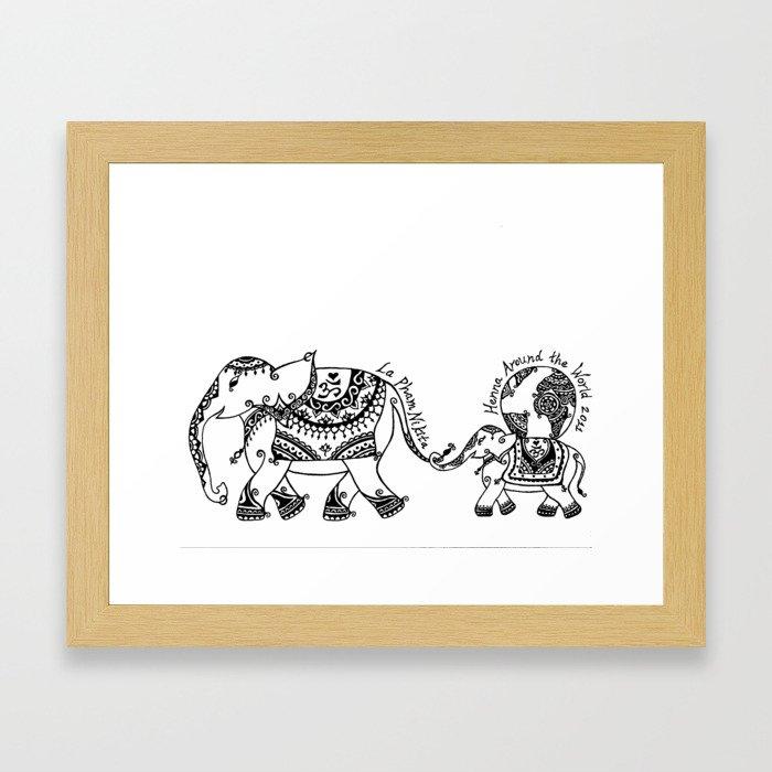 Henna Elephant Framed Art Print By Laphamnikita Society6