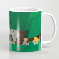 red riding hood Mugs featuring Little Red Riding Hood by parisian samurai studio
