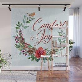 Comfort & Joy Red & Green Wreath Wall Mural