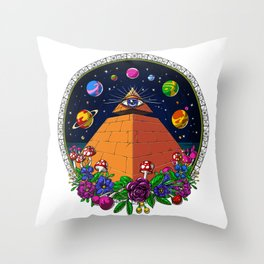 Psychedelic Magic Mushrooms All Seeing Eye Throw Pillow