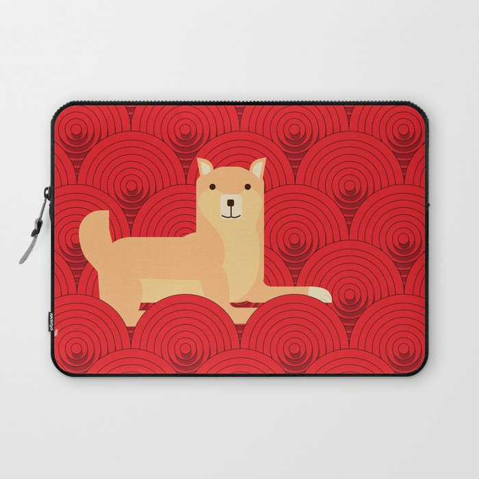 Cute japanese Shiba Inu dog lie down abstract red circle pattern wallpaper  Laptop Sleeve by vvadyab