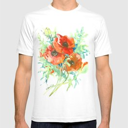 Red Poppies, Red flowers, French Country Style Field Flowers T-shirt