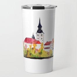 Slovenia Bled Lake pilgrimage church Travel Mug