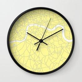 London Yellow on White Street Map Wall Clock