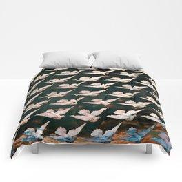 White Doves Dark Sky Pattern Comforters