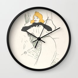 "Henri de Toulouse-Lautrec ""Yvette Guilbert, illustration from Le Rire"" Wall Clock"