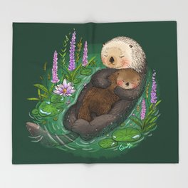 Sea Otter Mother & Baby Throw Blanket