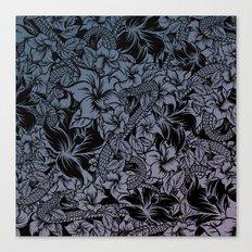 Snaky Fleur, Blue Fade Canvas Print
