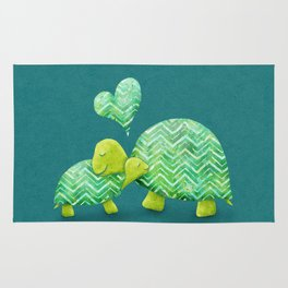 Sweet Turtle Hugs with Heart in Teal and Lime Green Rug