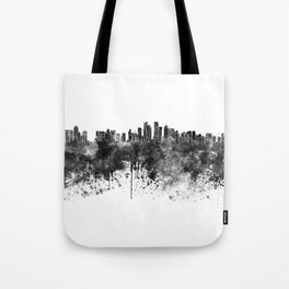 Doha skyline in black watercolor  Tote Bag