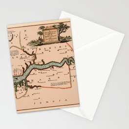 Map Of Gambia 1745 Stationery Cards