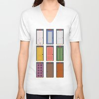 doors V-neck T-shirts featuring Scary Doors by Raquel Segal