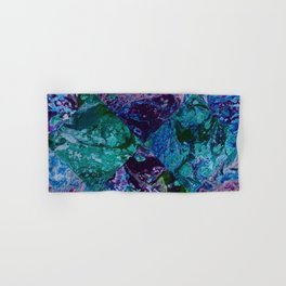 Psycho - Patchwork Quilt with Alternating Blue, Green, Purple Colors by annmariescreations Hand & Bath Towel