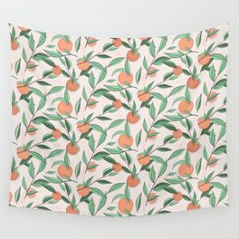 Peach and leaves Wall Tapestry