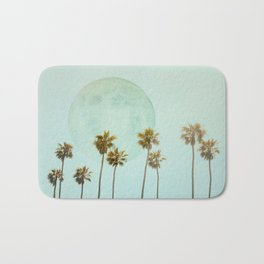 Full Moon Paradiese Beach Palm Trees Bath Mat