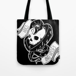Hugs and Hisses Snake and Skull Tote Bag