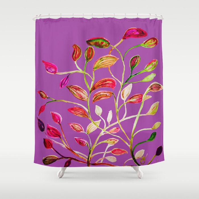 For Valentines Day Enjoy Purple Plum Red And Green Leaves Shower Curtain