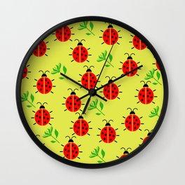 Ladybugs Pattern Wall Clock